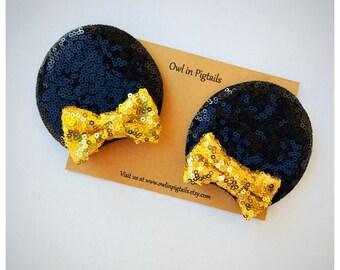 Sequin Mommy Mouse Ears Hair Clip Set / Gold Sequin Bow Minnie Hair Clips