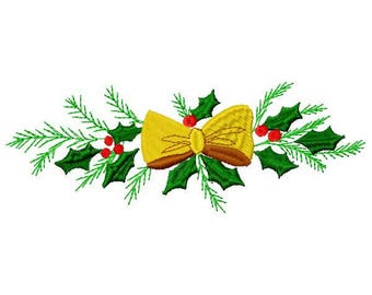 Holly Bow Machine Embroidery Design