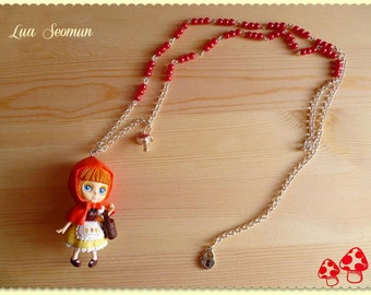 """RARE Necklace Blythe """"Red Hood"""" ( Blythe Little Red Riding Hood) -Made to Order-"""