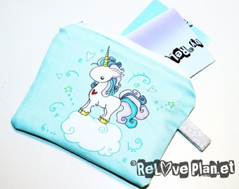 Unicorn Mini Zipper Purse Pouch - Coin Wallet - fluffy pink unicorn- ReLove Plan.et