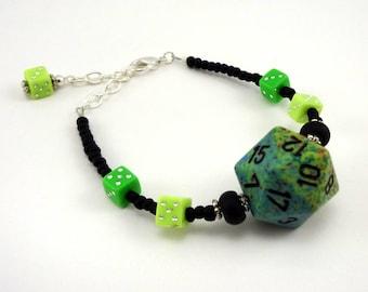 Green and black D20 beaded dice bracelet
