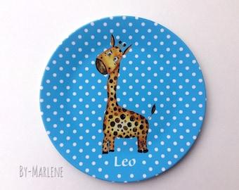 Children's Plate Giraffe by name