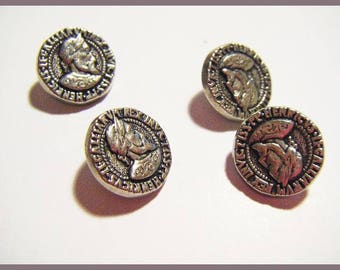 Set of 4 silver buttons