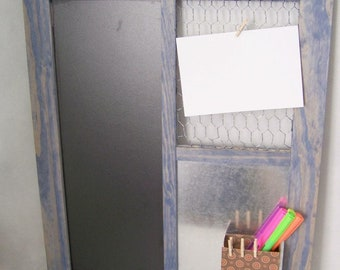 Distressed Denim Message Board with Magnet Box