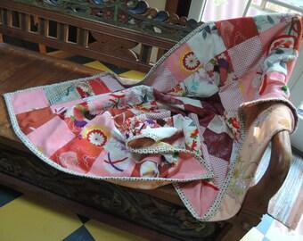 """Kimono throw, lap quilt, Japanese blanket, Vintage kimono craft, 54""""x35"""", Mother's gift, Futon throw"""