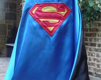 Reversible Superhero Cape- Batman and Superman Combo - Traditional Colors