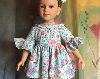 My Twin Doll Custom Made Teal Floral Dress Set