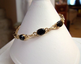 Onyx & Gold Filled Bracelet Expandandable Stretch 12K Gold Filled NOS Artisan Altered Authentic Vintage Genuine Black Gemstone