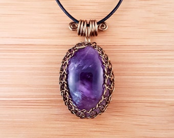 Bronze wire wrapped purple amethyst pendant necklace