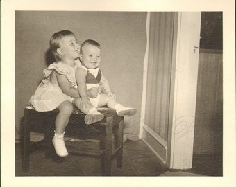 Vintage Photograph Young Boy and Girl Giggle and Laugh for the Camera