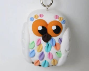 Colorful white owl keychain - One of a kind miniature • Mother's Day gift idea