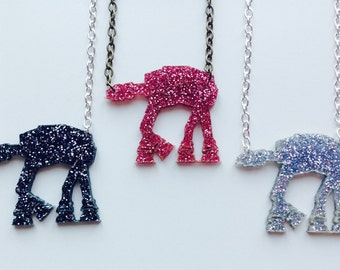 Star Wars | AT-AT Walker | The Force Awakens | Glitter | Pink | Silver | Black | Laser Cut | Acrylic | Necklace