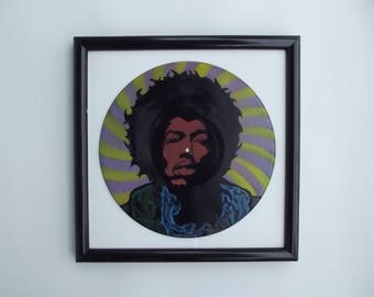 Vinyl Record Art, Jimmy Hendrix Poster, Painted Record, Spray Paint Art, Jimmy Hendrix Art, Music Lover Gift, Painted Vinyl Record,