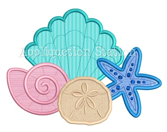 Seashell Collage Scene Applique Machine Embroidery Design shell starfish sand dollar INSTANT DOWNLOAD