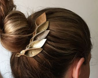 Golden Leather Petal Hair Comb
