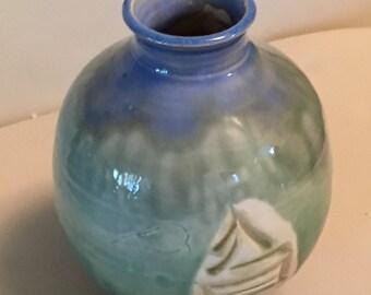 High Quality Japanese Collectible Sake Jug vase Blue Green Drip Glaze marked CM2K