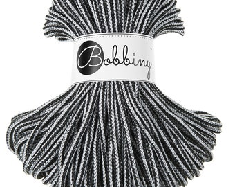 Black & White macrame cotton cord - Bobbiny - 54 yards (50 meters), 0.2'' (5mm) thick