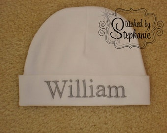Custom personalized monogrammed personalized name gray on white newborn baby boy hat