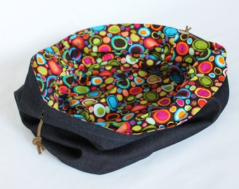 Kids Denim and Bright Circle Print Toy Bag Brown Orange Green Blue Extra-Large Bag Home School Travel Laundry Tote -- US Shipping Included