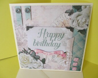 Carte 3D Roses Blanches Anniversaire