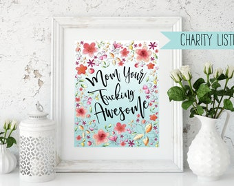 Mothers Day Art.Charity Listing.Mom poster.Mom art.Cancer Research Charity Listing.Mothers Day Printable.Cancer Research.Digital Download.