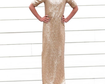 Girls Long Gold Sequin Dress, Gold Sequin, Dress, Wedding, Special Occasion, Easter, Sunday