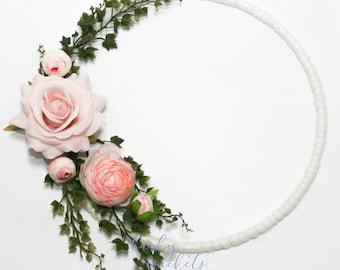 Flower Hoop, Flower Wall Decor, Flower Nursery Decor, Rose Wreath, Ivory Wreath, Ivory Flower Hanging, Flower Wreath, Floral Hoop