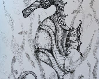 Art Print Seahorse #11 patterned pen and ink drawing by DM Horn ocean sea life