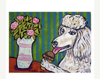 25% off Poodle at the Ice Cream Parlour Art Print