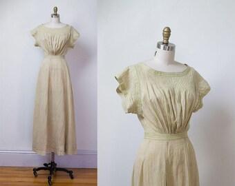 Antique Linen Dress / 1910s Edwardian Striped Day Dress