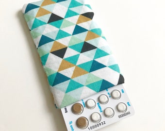 Pill Case Birth Control Sleeve - Mint Triangle