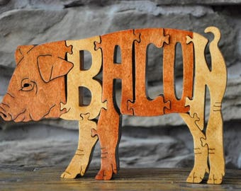 Fun BACON  Pig Piglet  Swine Hogs Wooden Animal Puzzle Toy Hand Cut  with Scroll Saw