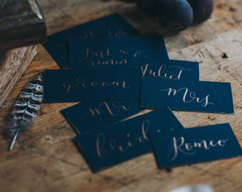 Plush place cards feat. modern calligraphy