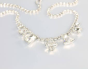 Vintage Juliana Rhinestone Necklace, Clear Crystal Choker, 1960s bridal jewelry