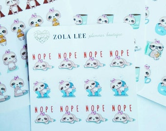 SLOTH LAZY DAY Planner Stickers for Erin Condren, Happy Planner, Kikki K,  Personal Planner and More