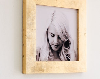 8x8 gold leaf picture frame with glass