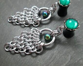 Dangle Plugs - 10g - 8g - 6g - 4g - 2g - 0g - Rainbow Gauges - Chainmaille Plugs - Chainmail Jewelry - Wedding Plugs - Plug Earrings
