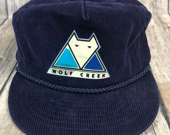 Vintage Wolf Creek Colorado Ski Corduory Strap Back Hat Nissin 80's Blue