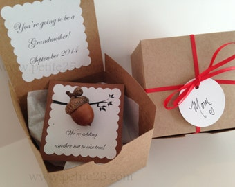 Another Nut to Our Tree- Pregnancy announcement, baby announcement, new baby, new parents, real acorn