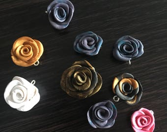 Assorted Polymer Clay Rose Charms (as is)