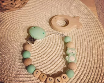 Pacifier mint 2 in 1 with natural wooden teething ring