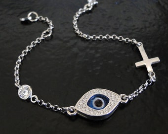 Evil Eye Sideways Cross Bracelet,  CZ Bracelet As Seen On Kim Kardashian And Kelly Ripa - Celebrity Style, Sterling Silver