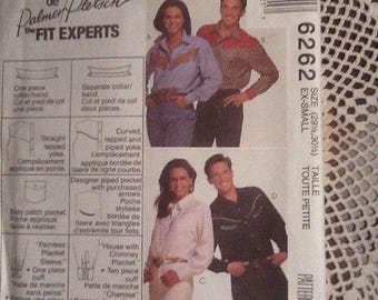 Western Shirt Pattern, Man / Woman, extra small, 29 1/2 and 30 1/2,  Mc Call's 6262, de Palmer Pletsch the fit experts, uncut pattern