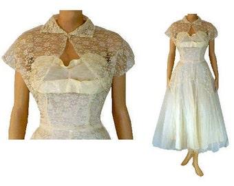 Made You Look - Vintage 1950's Prom Dress and Bolero - Medium