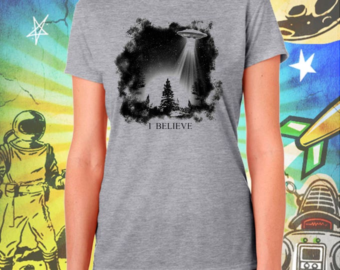 The X-Files / Fox Mulder / I Believe UFO /  Women's Gray Performance T-Shirt