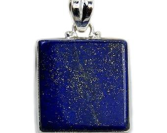 Lapis Lazuli Pendant Sterling Silver Pendant Lapis Lazuli Necklace Lapis Silver Chain Lapis Leather Cord AE209 Jewelry