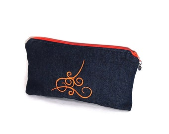 Embroidered makeup bag, denim cosmetic bag, cosmetic zipper pouch, clutch bag , travel organizer, pencil case or  project bag zipper pouch.