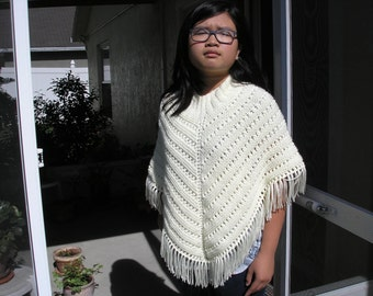 Knitted Poncho, Junior Girl - Off White