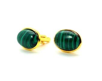 Envy - Green Malachite Oval Cufflinks  – Malachite Cufflinks - Green Cufflinks