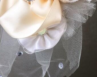 Modern Birdcage Veil // Fabric Flowers and Gems